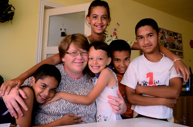 Jula Hughes with her sponsored SOS family.