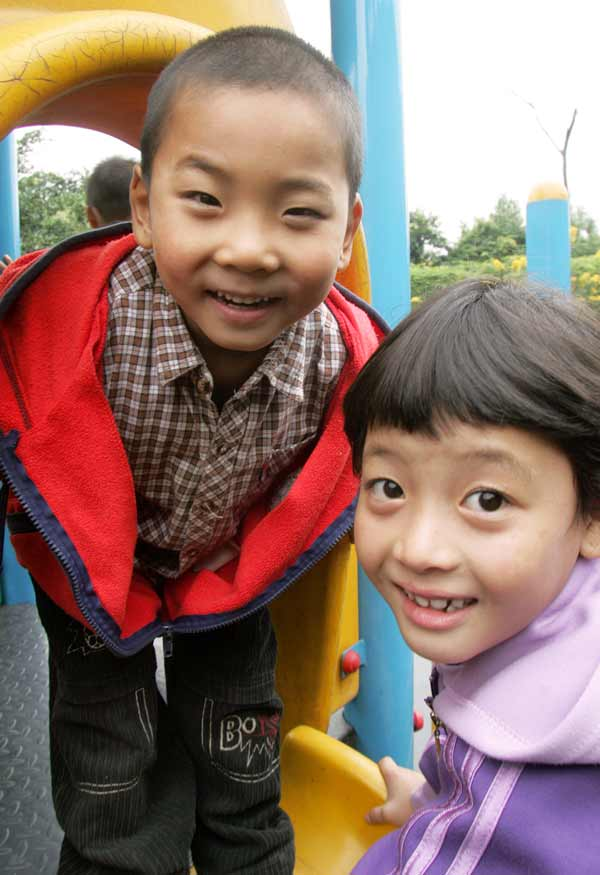 Sponsored boy and girl in Chengdu, China