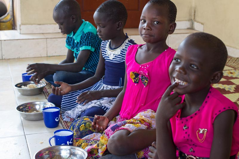 Children eating lunch in the SOS Children's VIllage in Juba, South Sudan