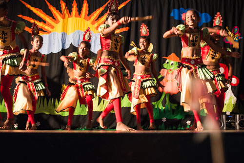 Children performing a dance show in Monaragala, Sri Lanka