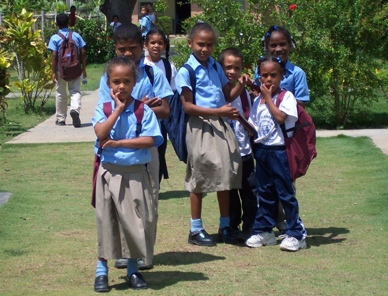 Children coming back from school in the Dominican Republic