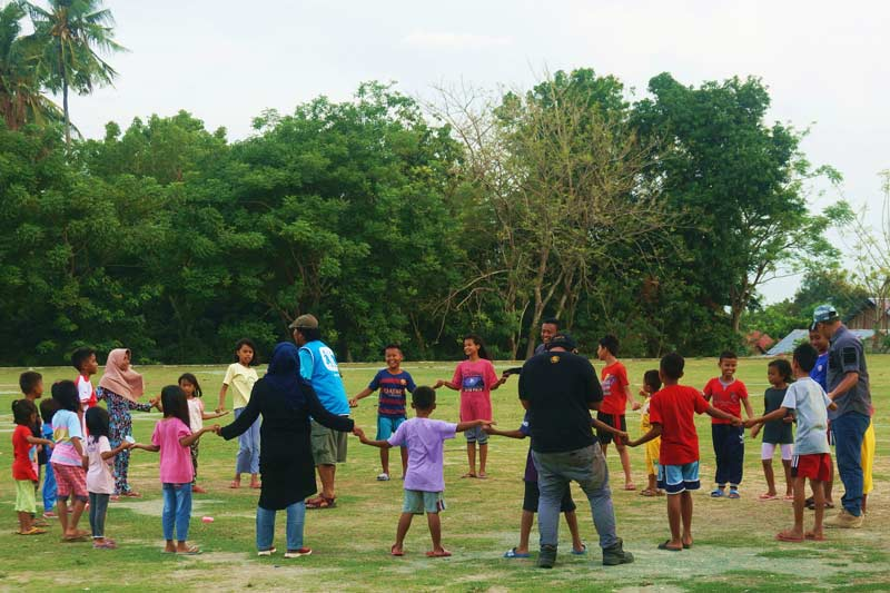 Children playing, recreational activities lead by SOS emergency response staff