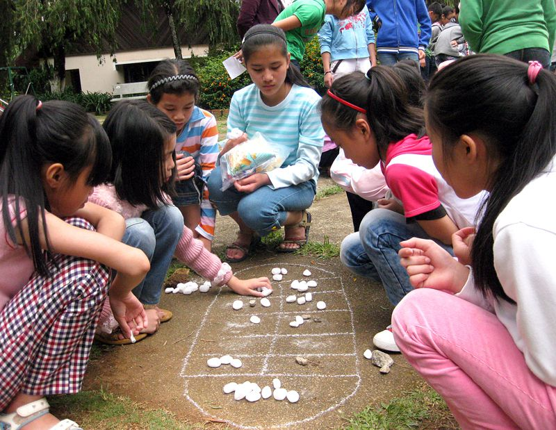 SOS children playing games in Dalat, Vietnam