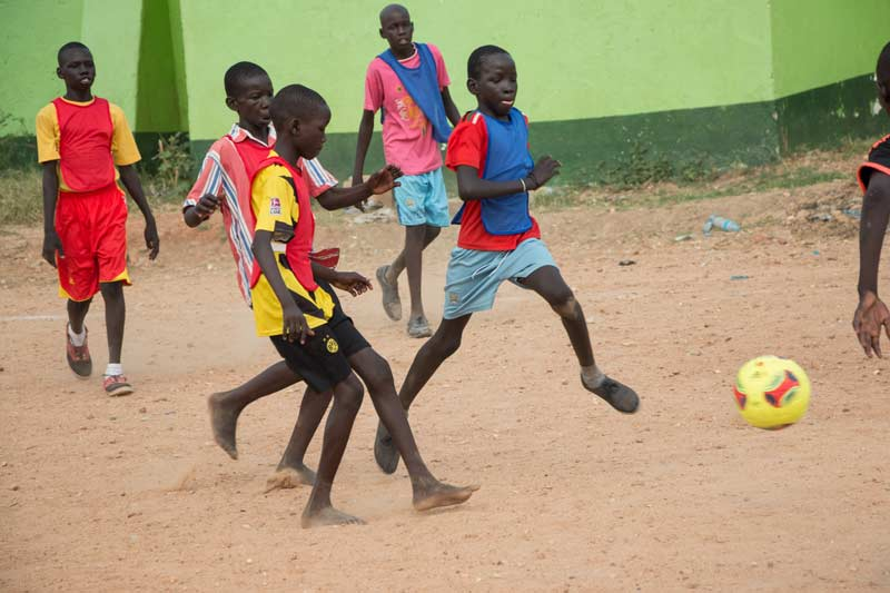 Children play soccer in Ethiopia