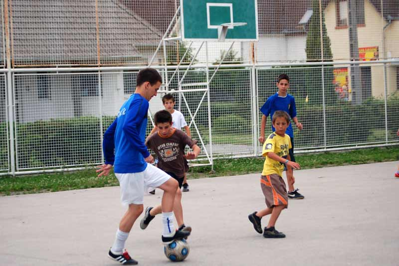 Children playing soccer in Hungary