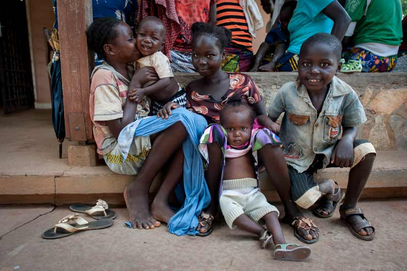 Children sitting on the ground in the Central African Republic