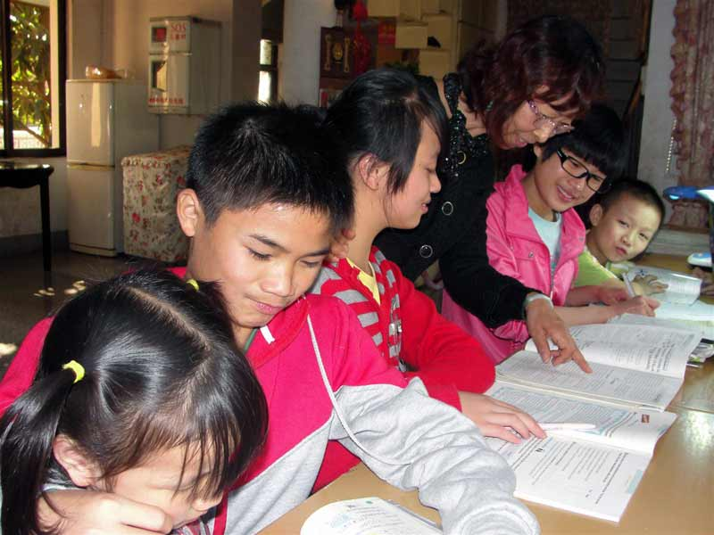 SOS children studying at home in Nanchang, China