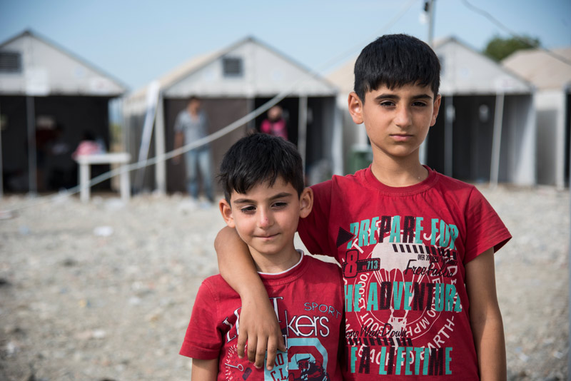 Two Syrian brothers in a refugee camp in Gevgelija, Macedonia