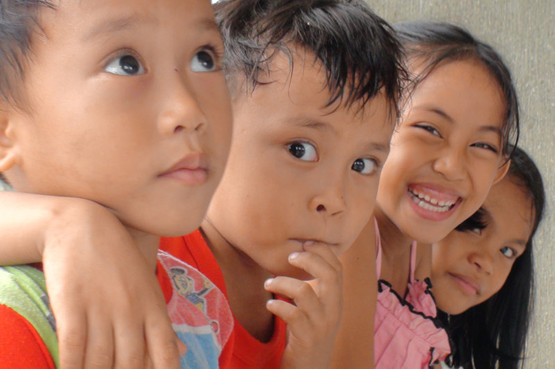 Four siblings in Tacloban, Philippines