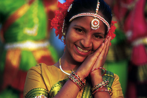 Girl in traditional clothes in Visakhapatnam, India