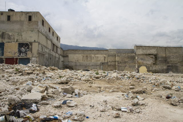Damaged buildings and rubble in the aftermath of the Haiti earthquake.