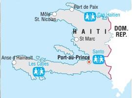 Map showing SOS Children's Villages in Haiti.