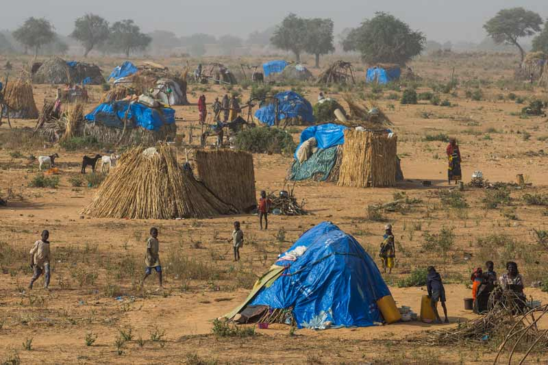 Makeshift refugee camp in Niger