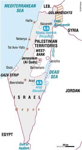 Map of SOS in Israel - Sponsor a child in Israel