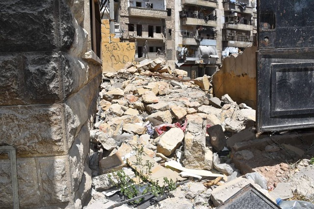 Destroyed buildings in Aleppo, Syria