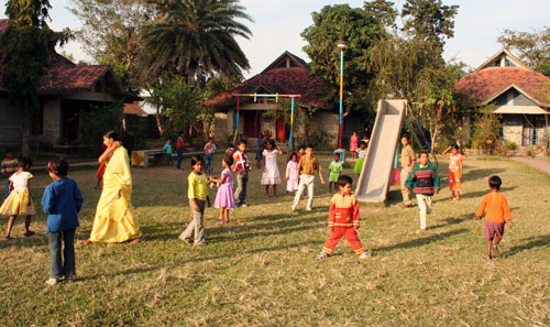Children playing in playground in Guwahati, India