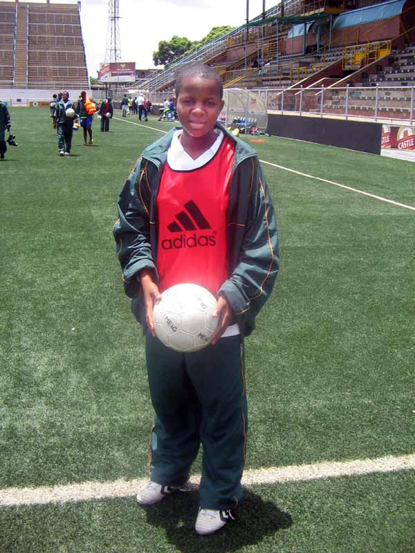 Mavis Chirandu at soccer training camp.
