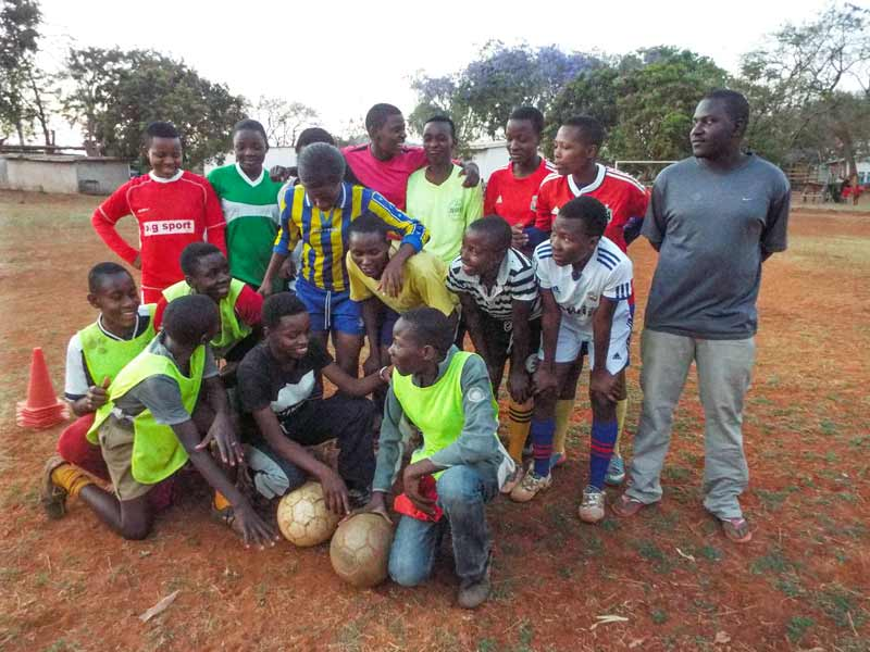 SOS soccer team group picture. CV Bindura, Zimbabwe.