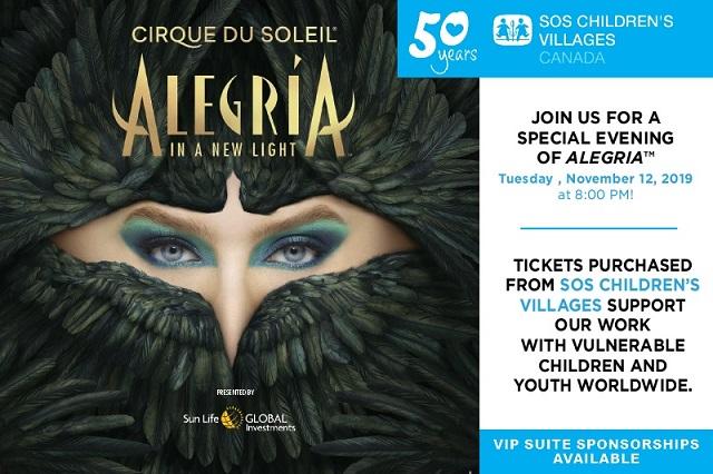 Event card for SOS/Cirque du Soleil special event on November 12, 2019