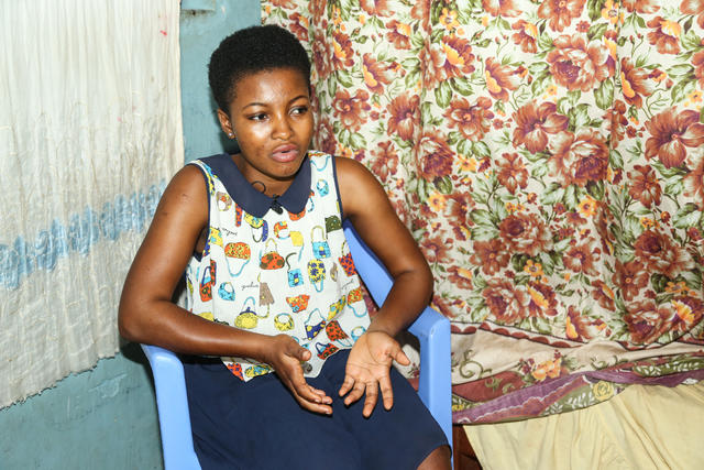 Sandy* in her home in Ghana