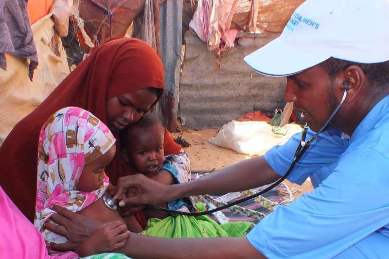 Children being checked for malnutrition