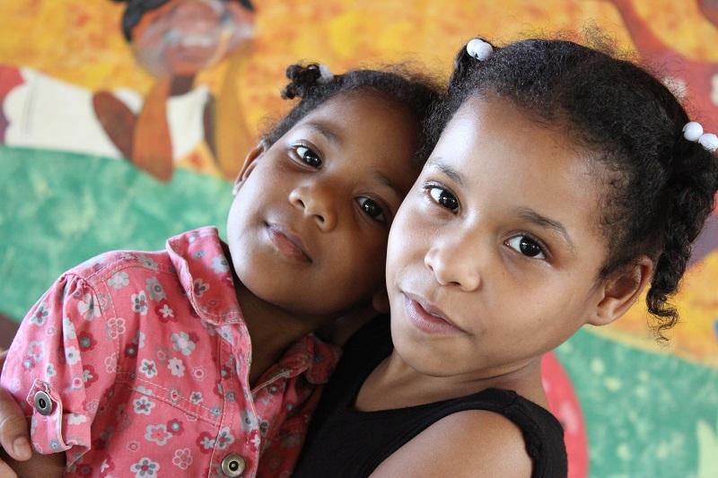 Girls Hugging at SOS Dominican Republic