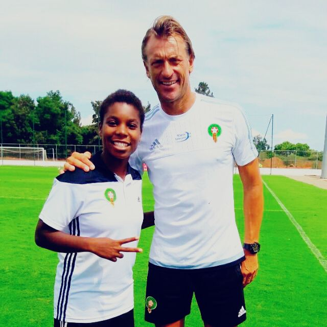 Hasnaa with the coach of the Moroccan male national football team Hervé Renard