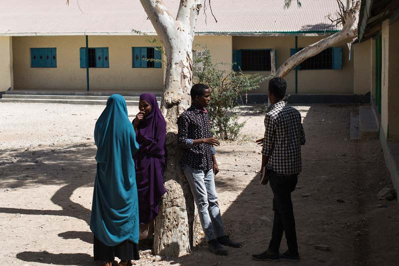Students outside the rebuilt school in Hargeisa, Somaliland