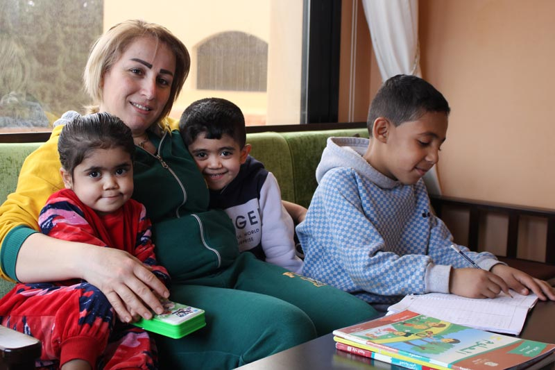 SOS mother Lama with her children in Syria