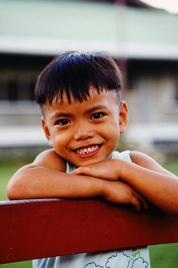 Sponsored boy smiling in the SOS Village in Davao, Philippines