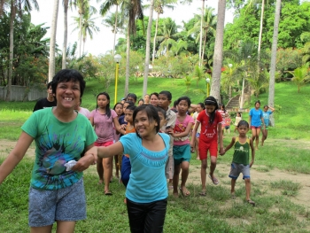 Sponsored children going walking together in Lipa, Philippines