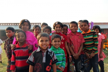 Bangladeshi sponsored children smiling in Sylhet, Bangladesh