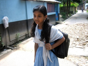 Bangladeshi girl on her way to school