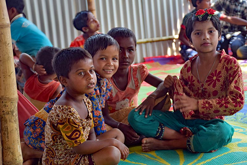 Rohingya children in an SOS Child Friendly Space