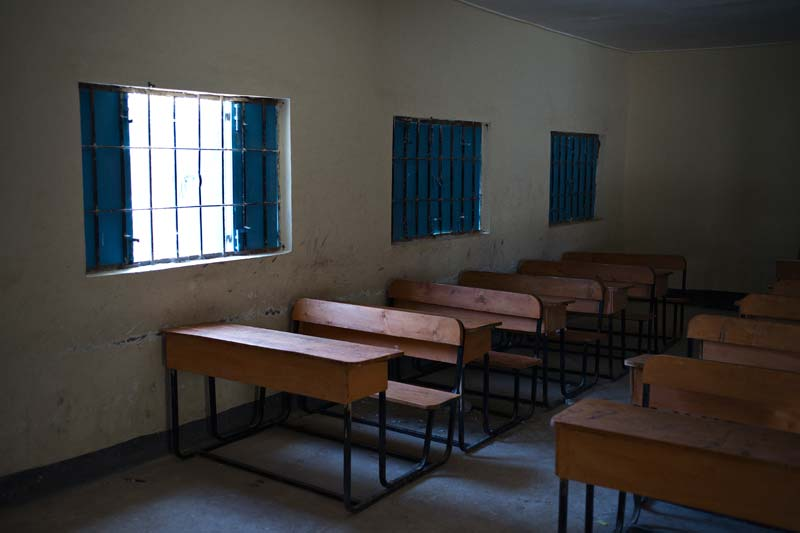 Classroom desks in the rebuilt portion of the Hargeisa school in Somaliland
