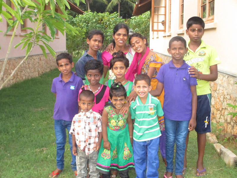 SOS family with SOS mother and sponsored children in Jaffna, Sri Lanka