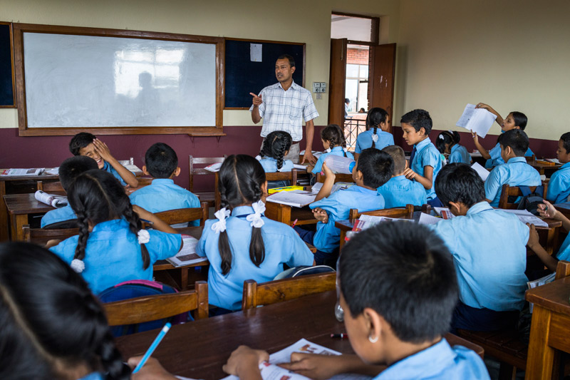 Students in class at the SOS School in Sanothimi, Nepal