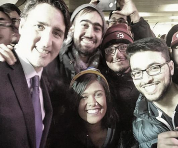 Students with Prime Minister Justin Trudeau