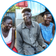 Nyaaba and two of his daughters pose for a picture.