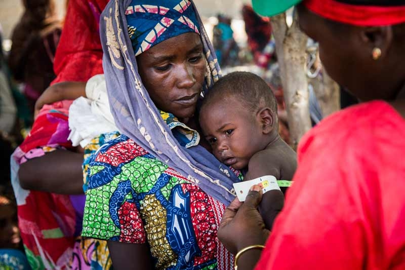 A child being checked for malnutrition