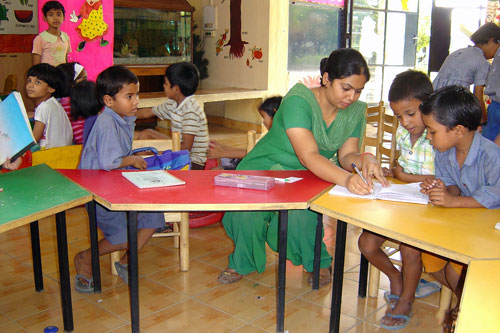 Teaching kindergarten in Greenfields, India