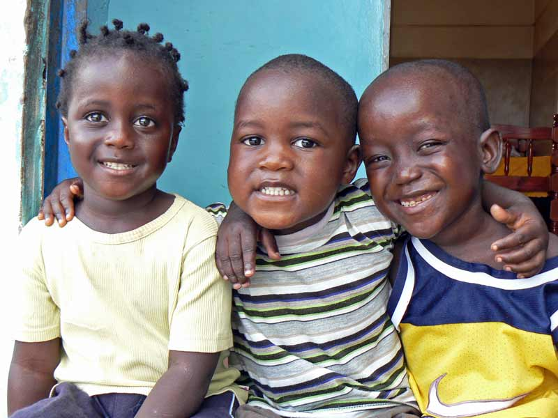Three sponsored children in Gambia