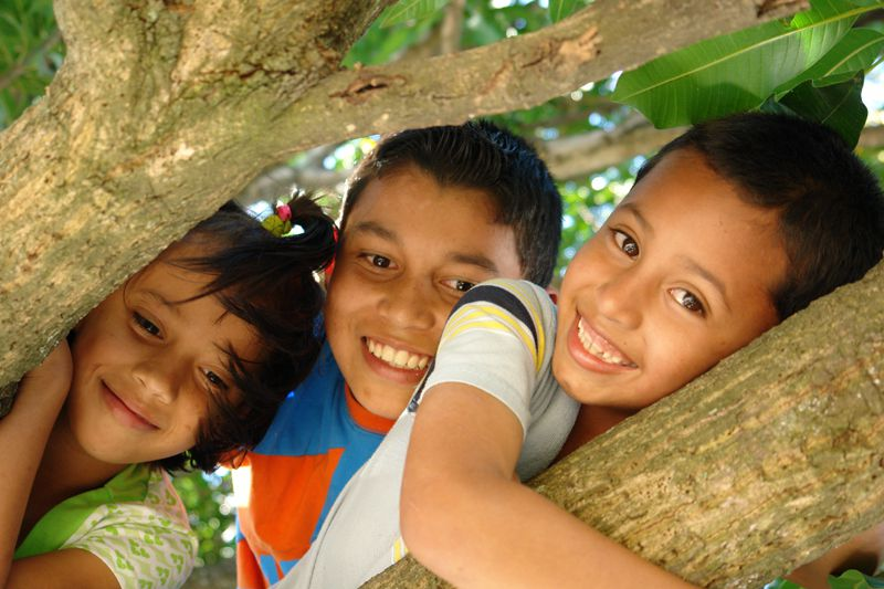 Honduras sponsored children in tree