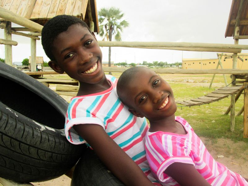 Two sponsored girls smiling in Namibia