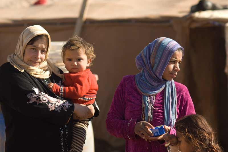 Two women and child Syrian refugees