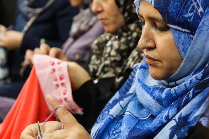 Women working on sewing in Amman, Jordan