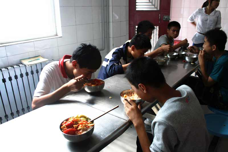 Youth having lunch in Kaifeng, China